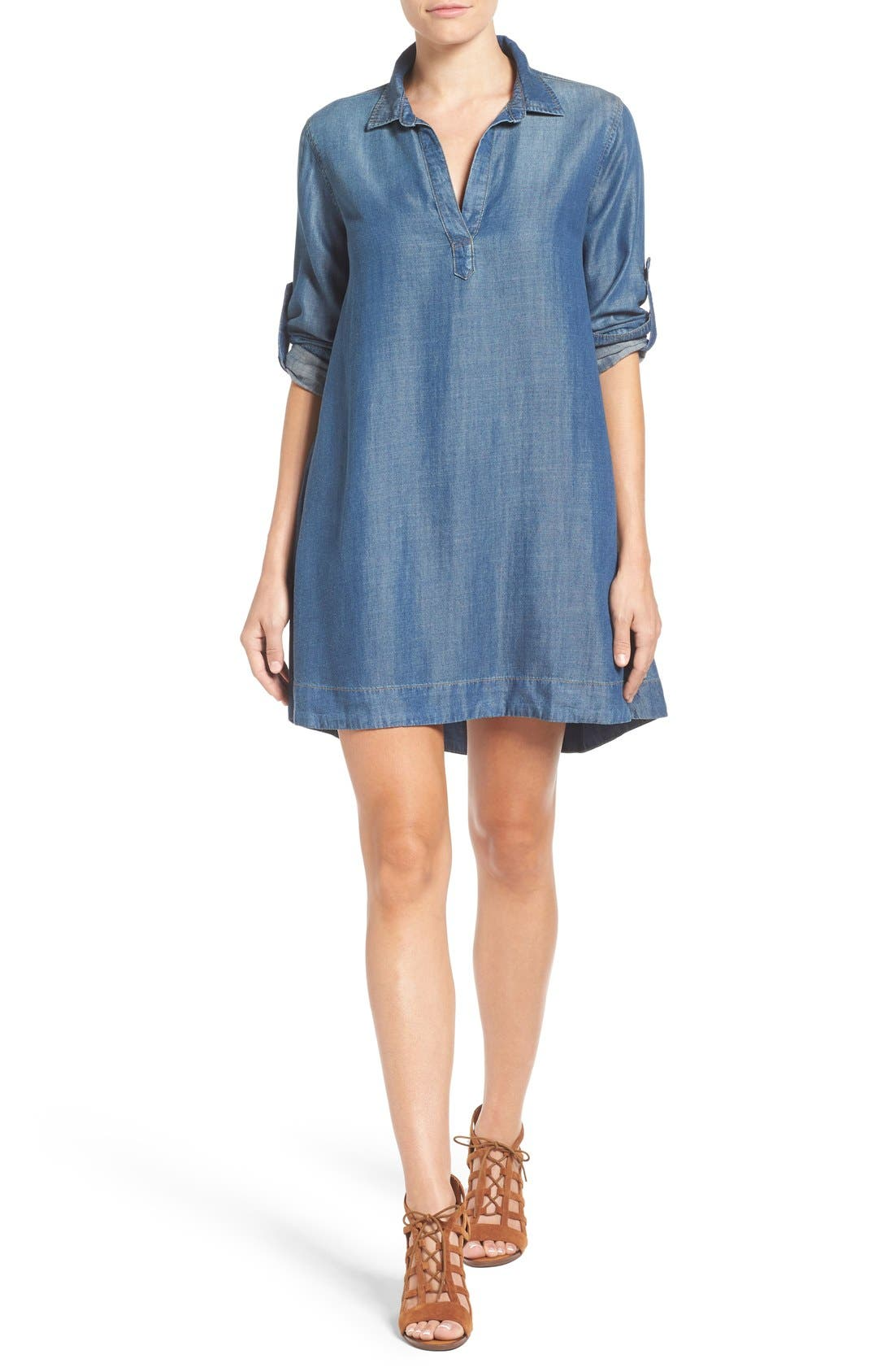 Alternate Image 1 Selected - Side Stitch A-Line Denim Shirtdress
