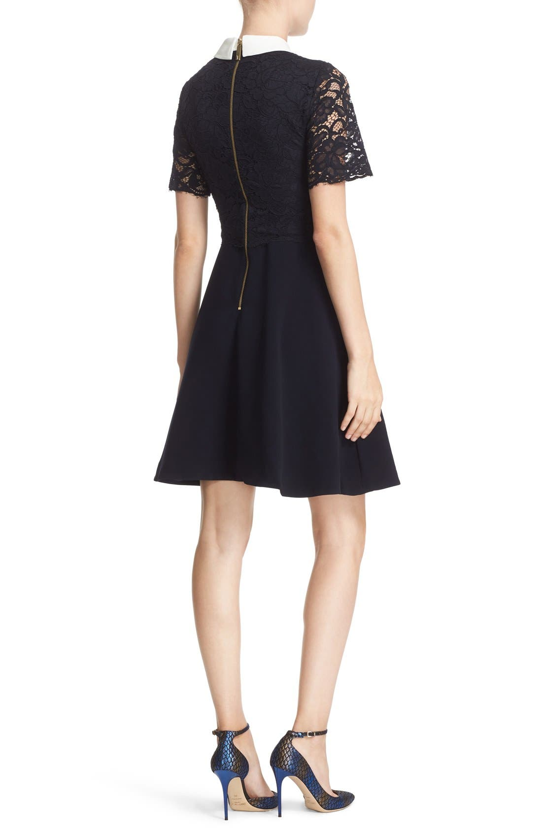 Alternate Image 2  - Ted Baker London 'Dixxy' Contrast Trim Lace Bodice Fit & Flare Dress