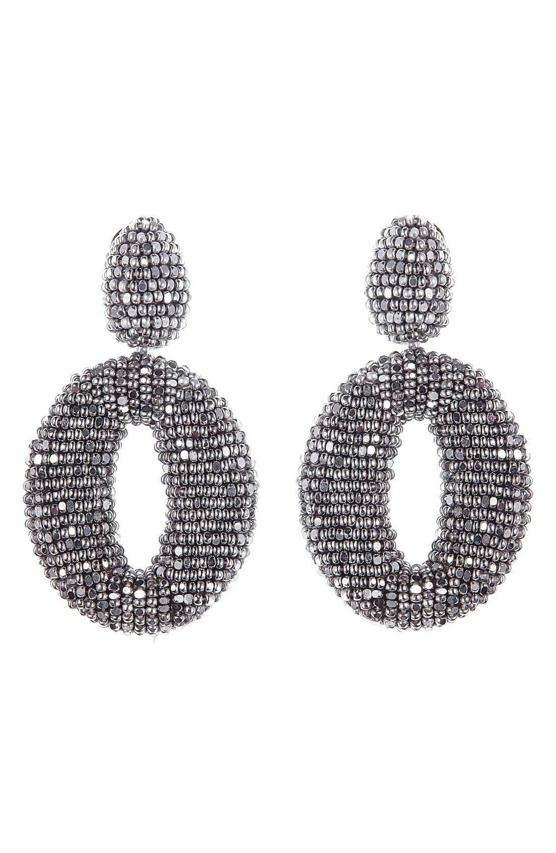 Oscar de la Renta Beaded Frontal Hoop Clip Earrings