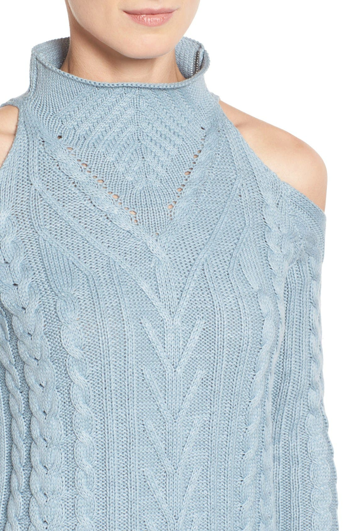 Alternate Image 4  - RD Style Cold Shoulder Cable Knit Sweater