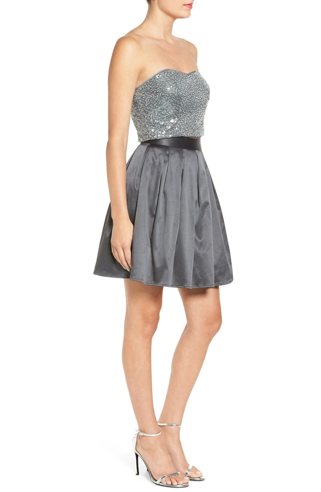 Alternate Image 3  - Love, Nickie Lew Two-Piece Strapless Sequin Skater Dress