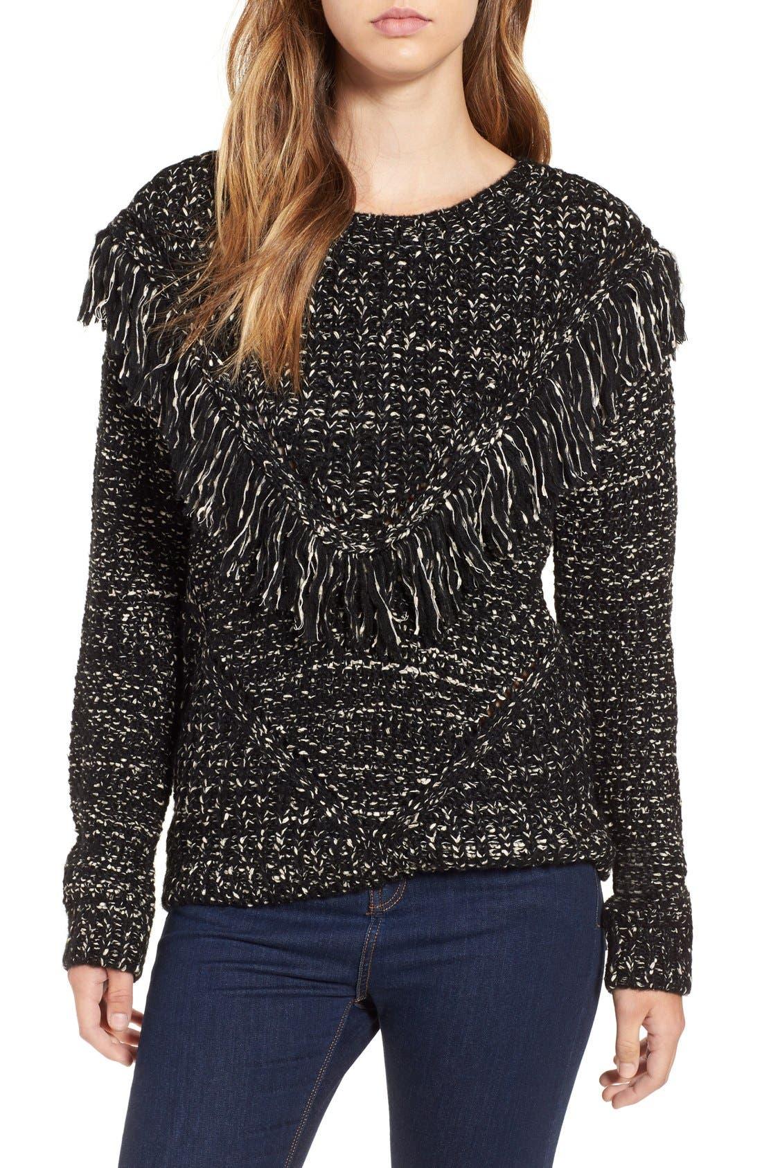 Main Image - ASTR 'Marion' Fringe Detail Crewneck Sweater