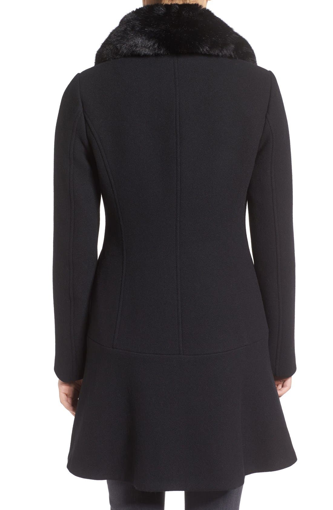 Alternate Image 2  - kate spade new york double breasted twill coat with faux fur collar