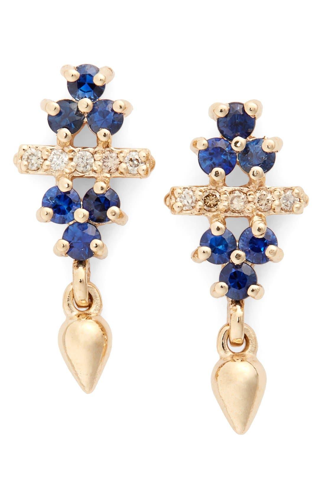 Anna Sheffield 'Emma Bloom Bullet' Sapphire & Champagne Diamond Stud Earrings