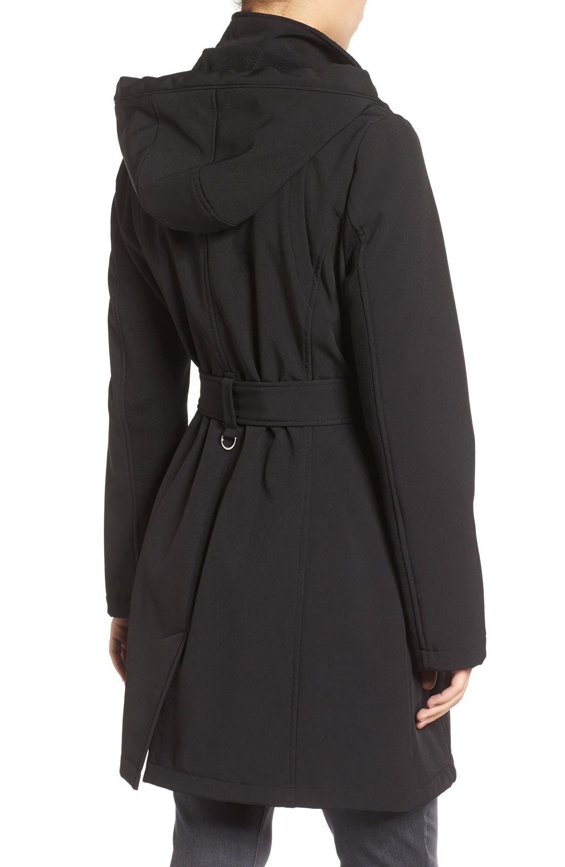 Alternate Image 2  - Calvin Klein Double Breasted Soft Shell Trench Coat