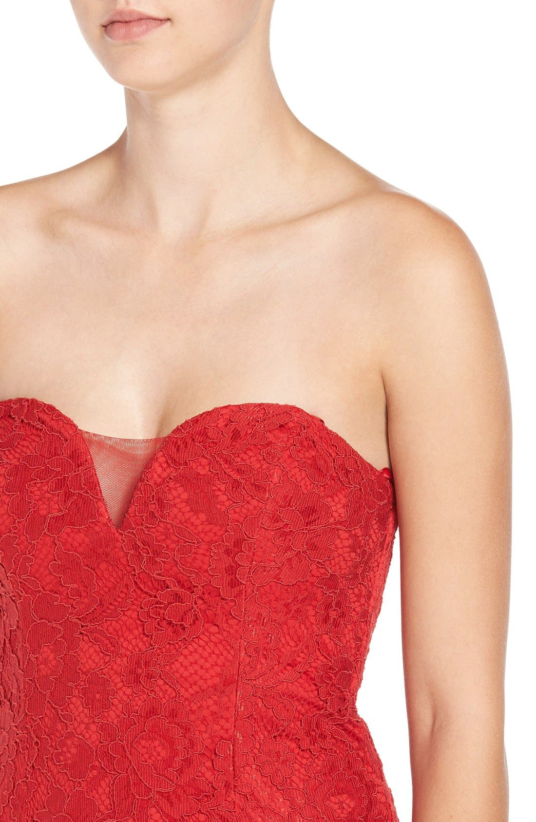 Alternate Image 4  - Sequin Hearts Strapless Lace Gown