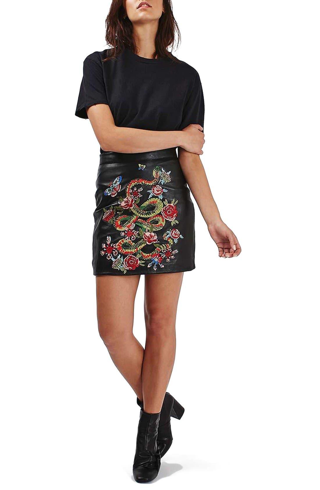 Alternate Image 2  - Topshop Snake Embroidered Leather Miniskirt