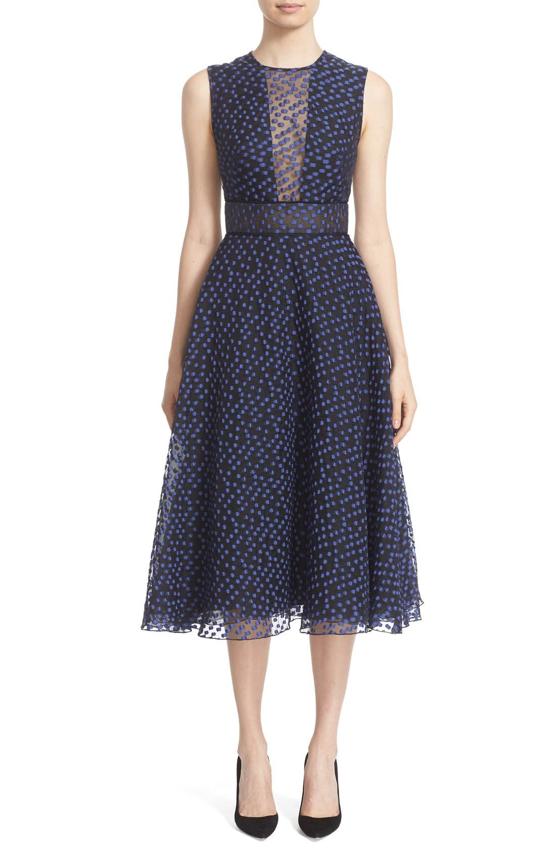 LELA ROSE Dotted Organza Fit & Flare Midi