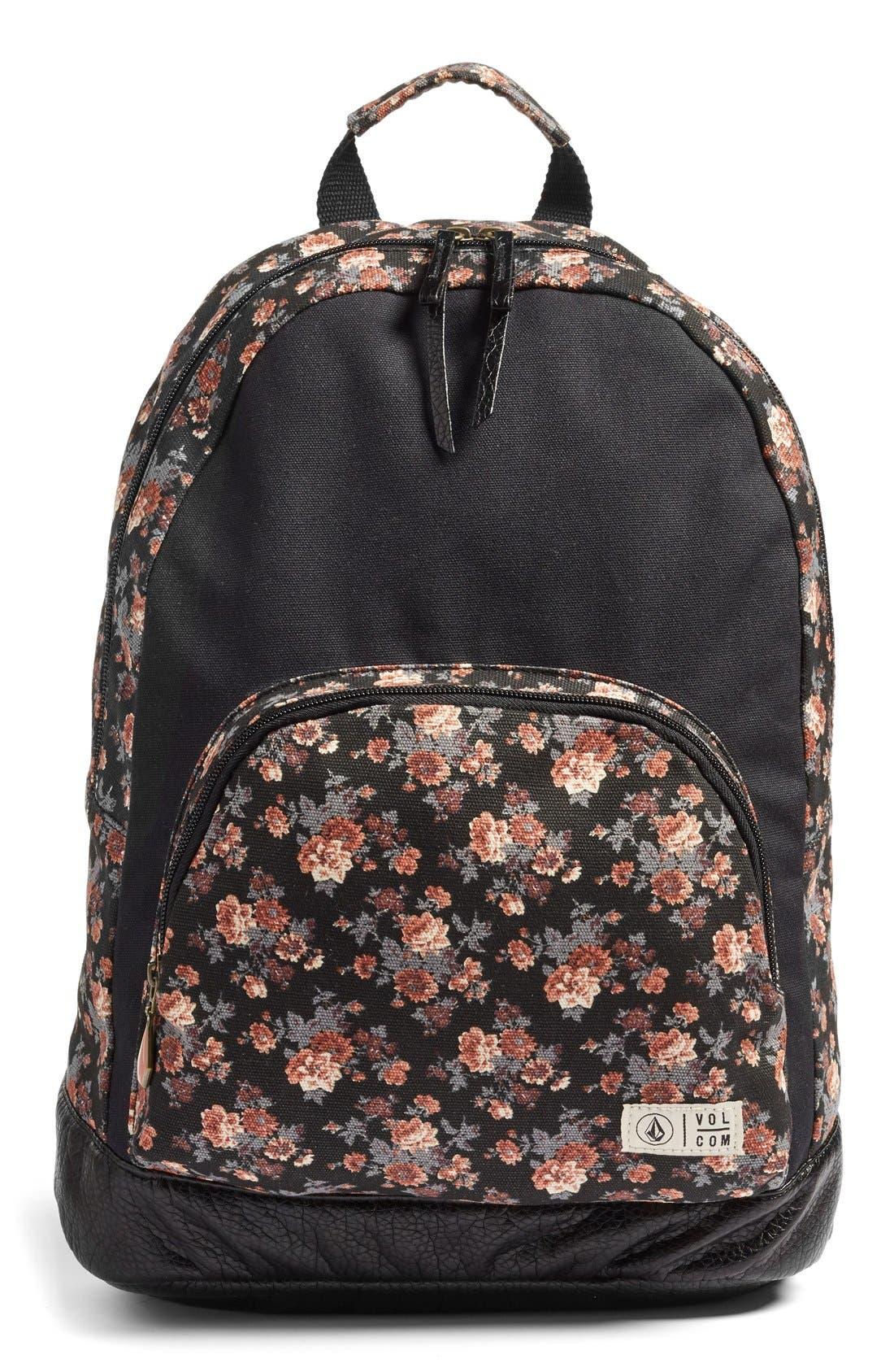 Main Image - Volcom 'Leaf Me Alone' Floral Print Backpack