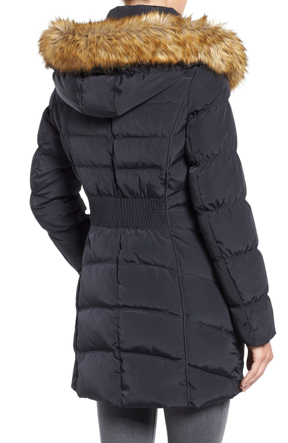 Alternate Image 2  - Laundry by Shelli Segal Hooded Down & Feather Fill Coat with Detachable Faux Fur Trim