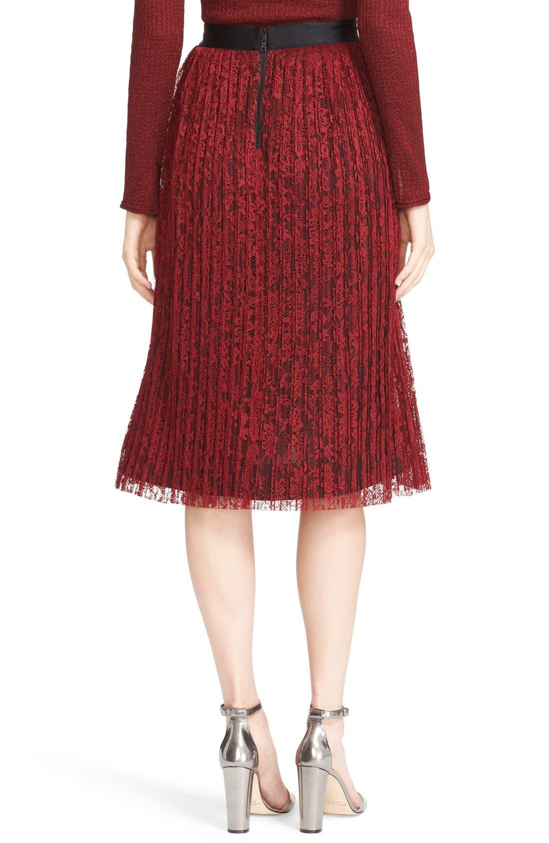 Alternate Image 3  - Alice + Olivia 'Mikaela' Pleat Lace Midi Skirt