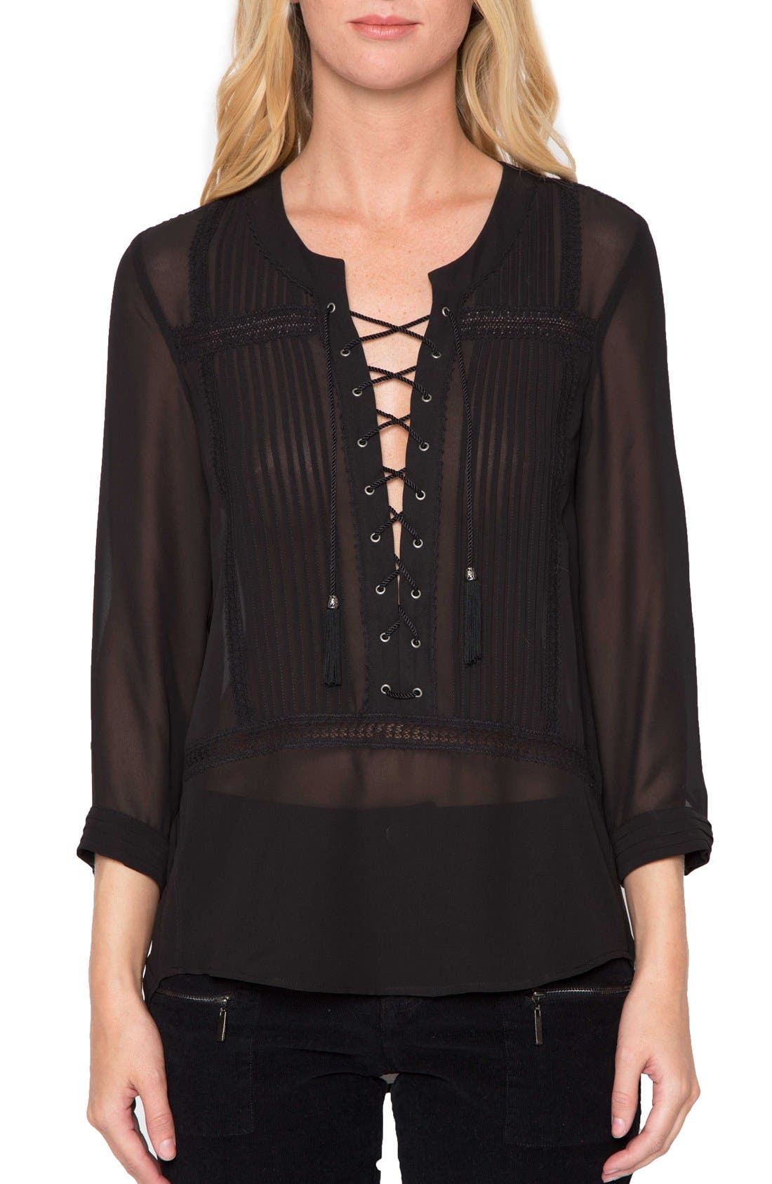 Alternate Image 1 Selected - Willow & Clay Sheer Long Sleeve Blouse