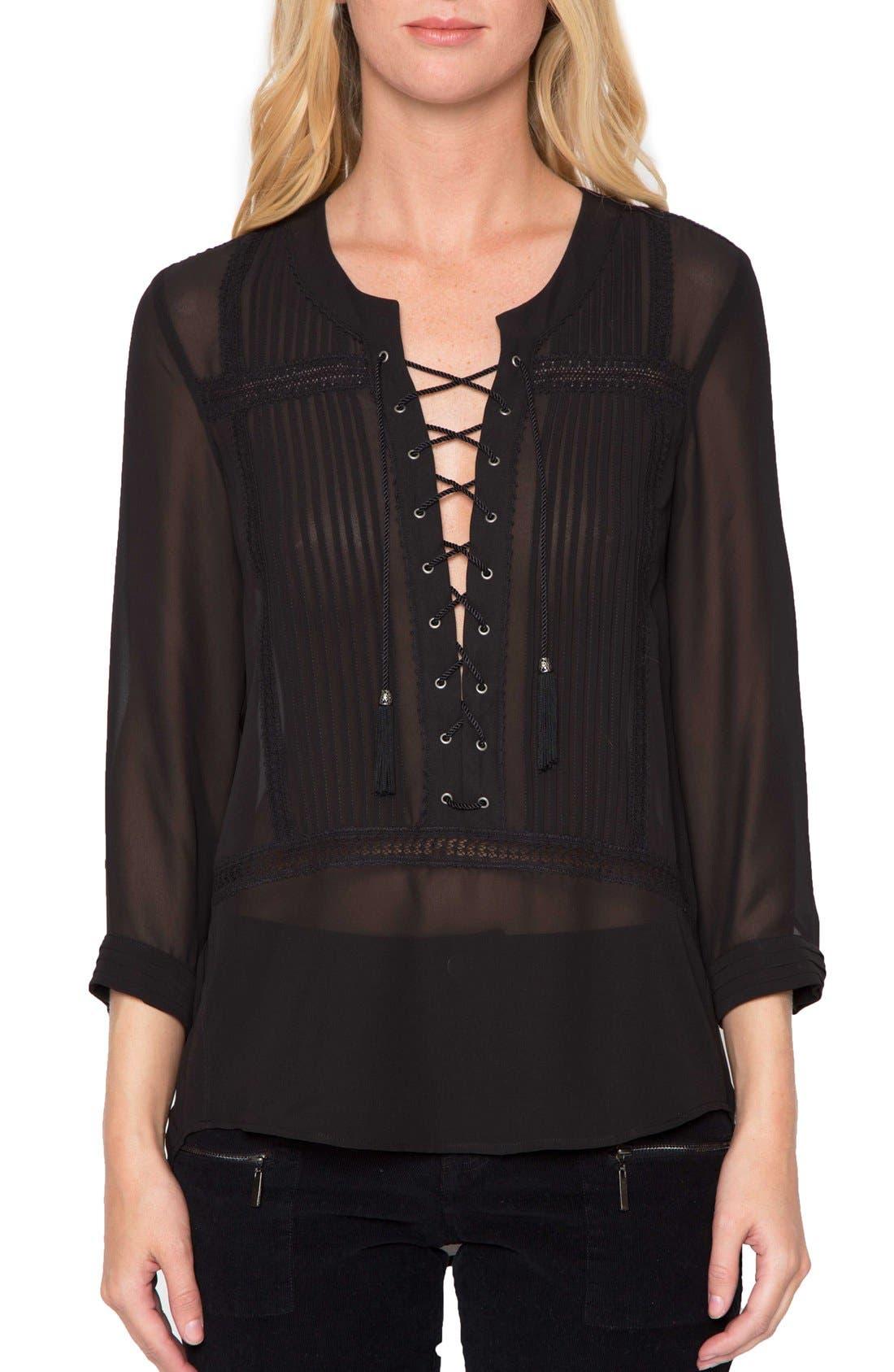 Main Image - Willow & Clay Sheer Long Sleeve Blouse