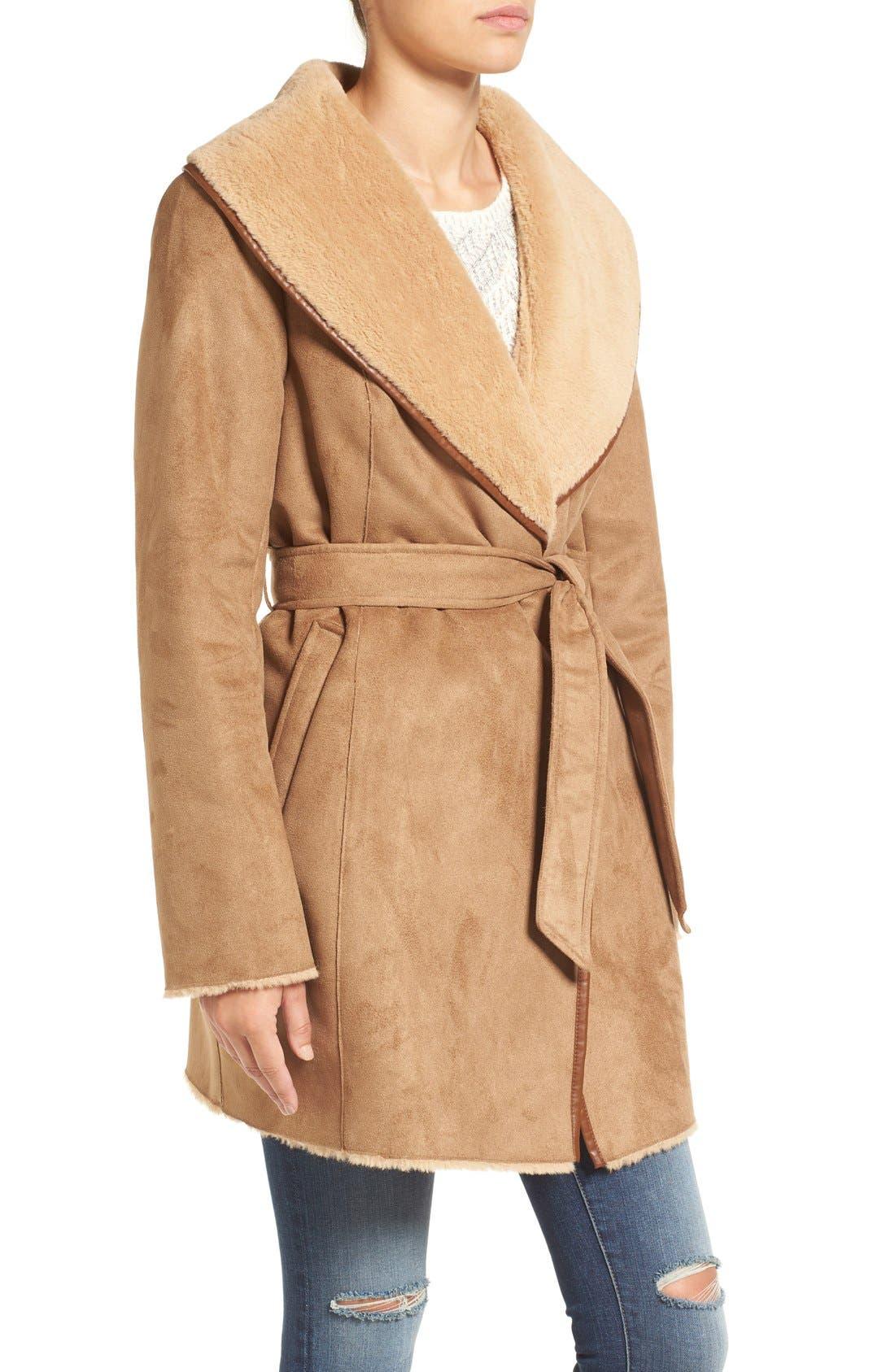 Alternate Image 3  - Ellen Tracy Faux Shearling Wrap Coat