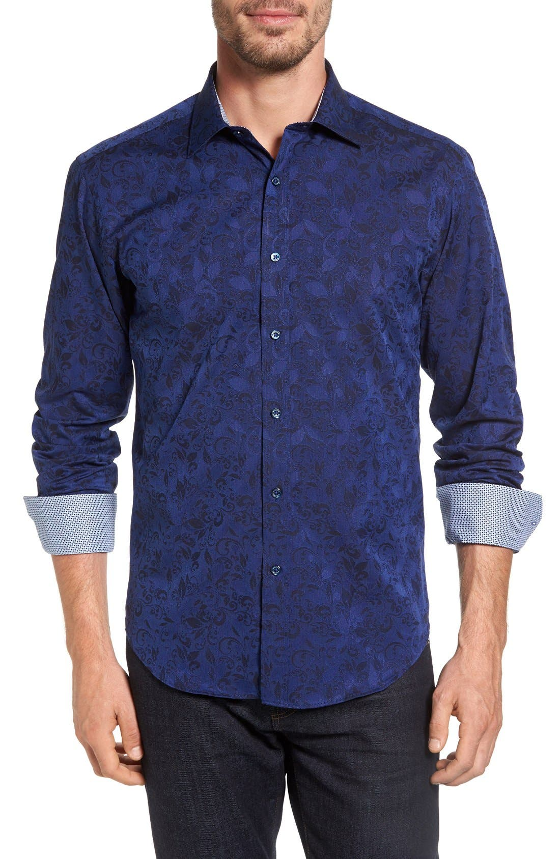 BUGATCHI Shaped Fit Jacquard Sport Shirt