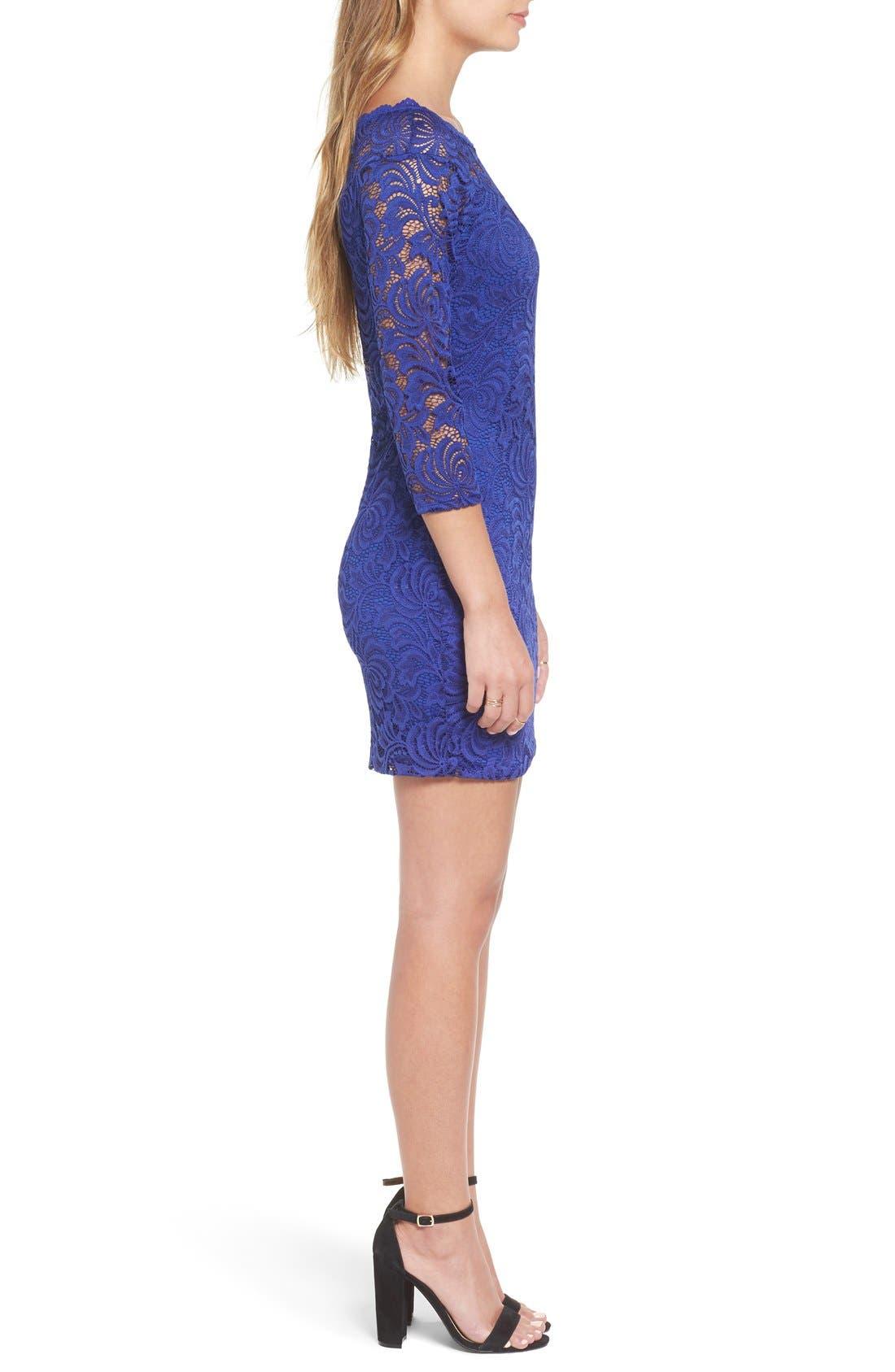 Alternate Image 3  - Secret Charm Bateau Neck Lace Body-Con Dress