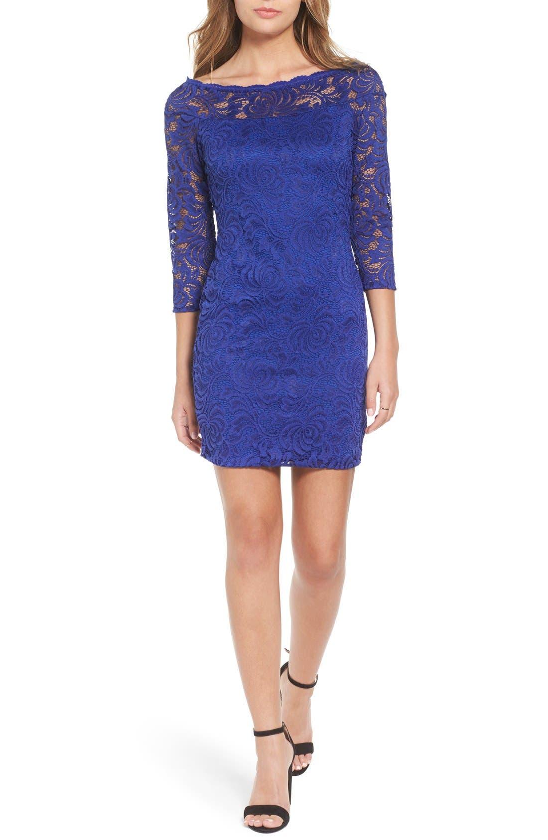 Main Image - Secret Charm Bateau Neck Lace Body-Con Dress
