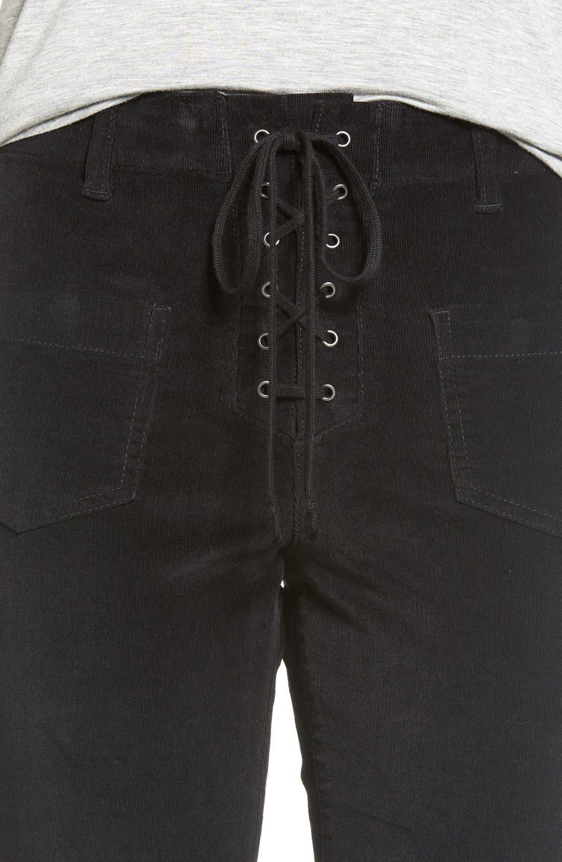 Alternate Image 4  - Sun & Shadow Lace-Up Flare Corduroy Pants