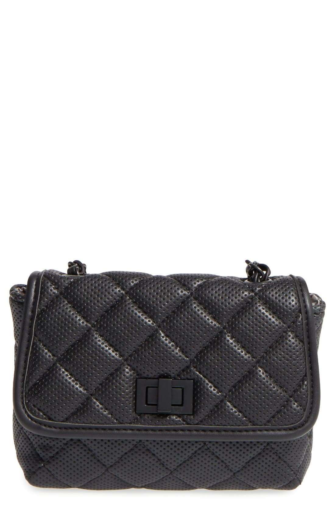 Alternate Image 1 Selected - Steve Madden 'B Clarre' Perforated & Quilted Faux Leather Crossbody Bag