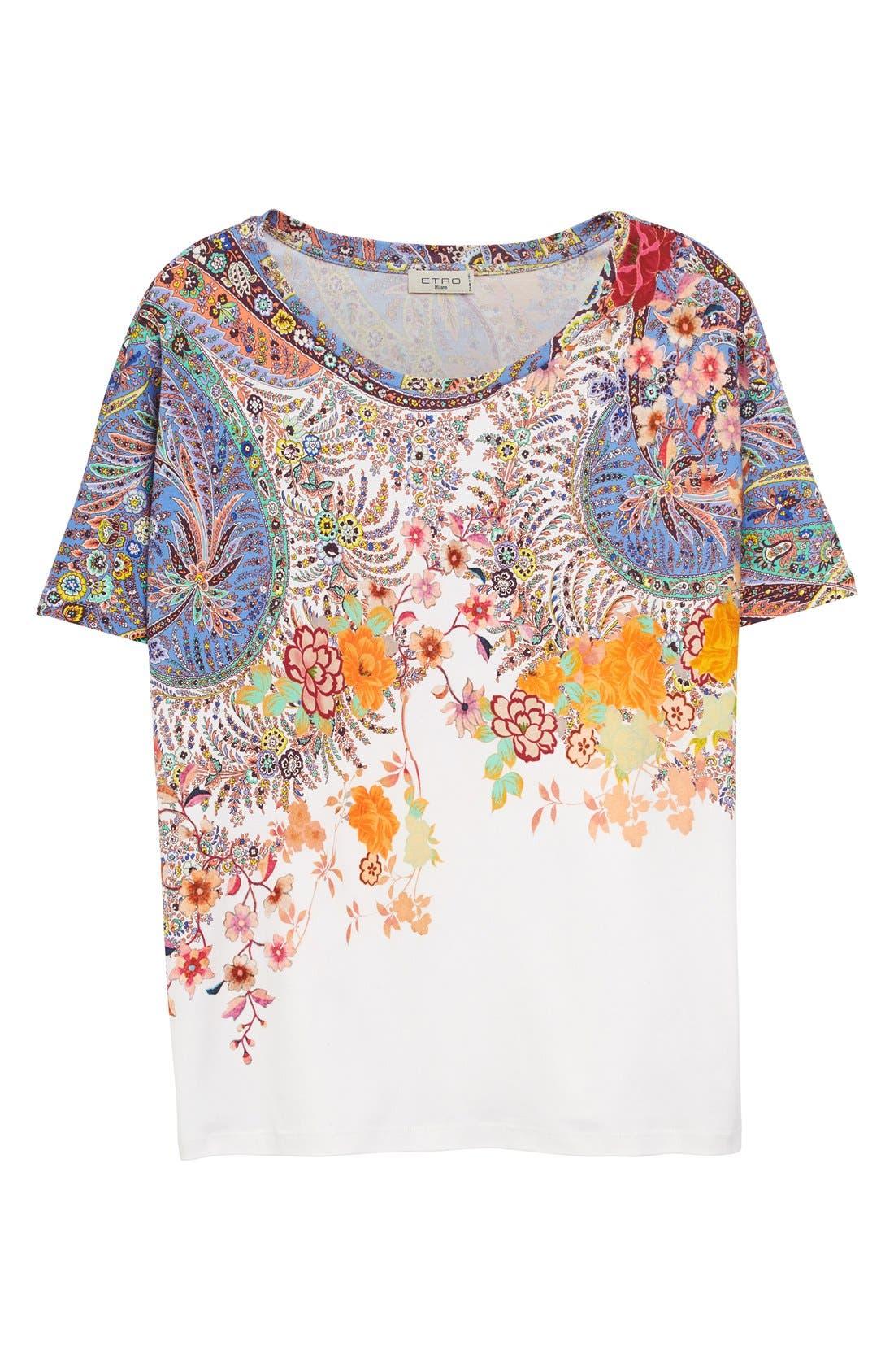 Alternate Image 4  - Etro Floral & Paisley Print Cotton Tee