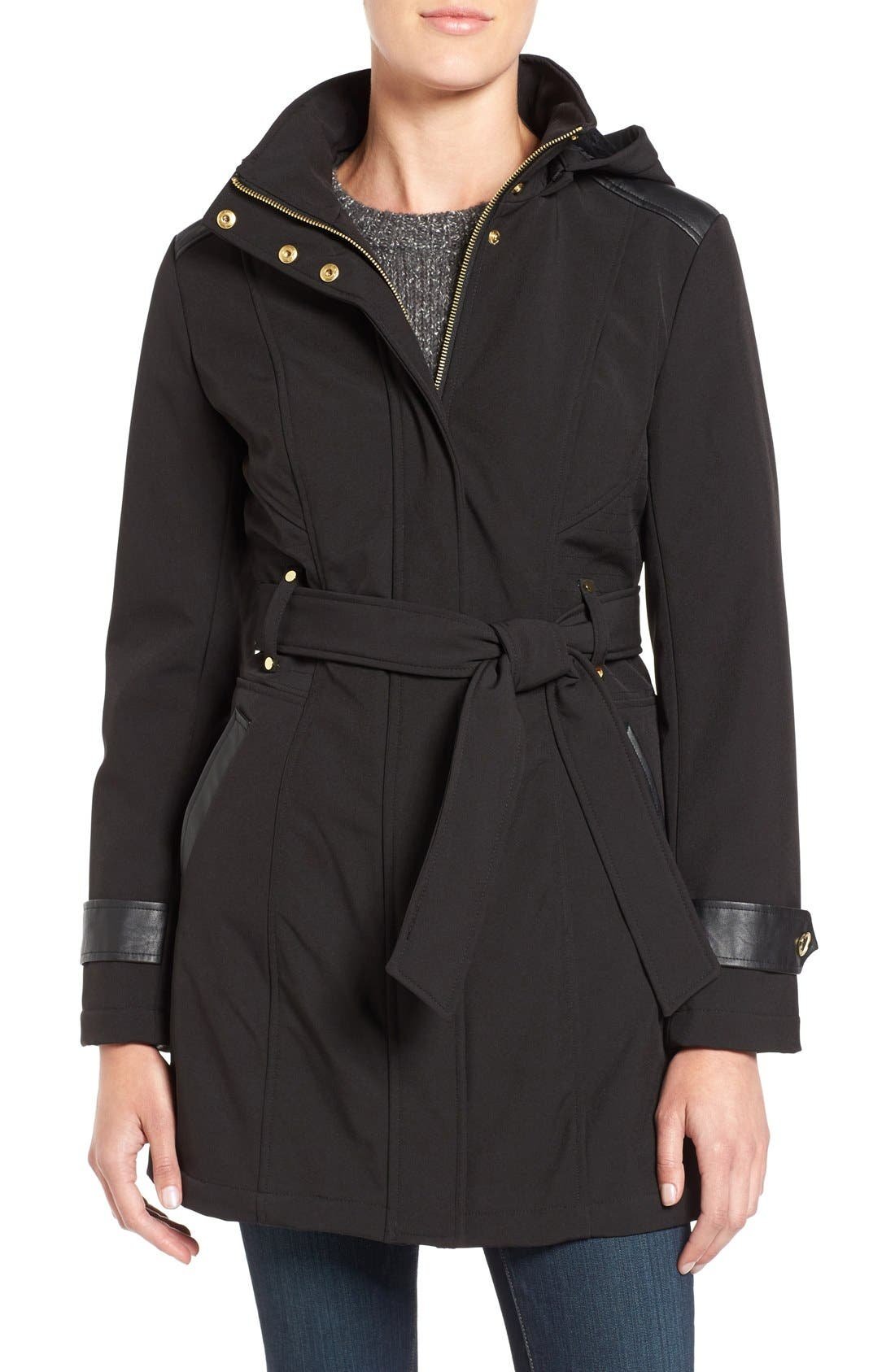 Via Spiga Belted Soft Shell Coat (Regular & Petite)