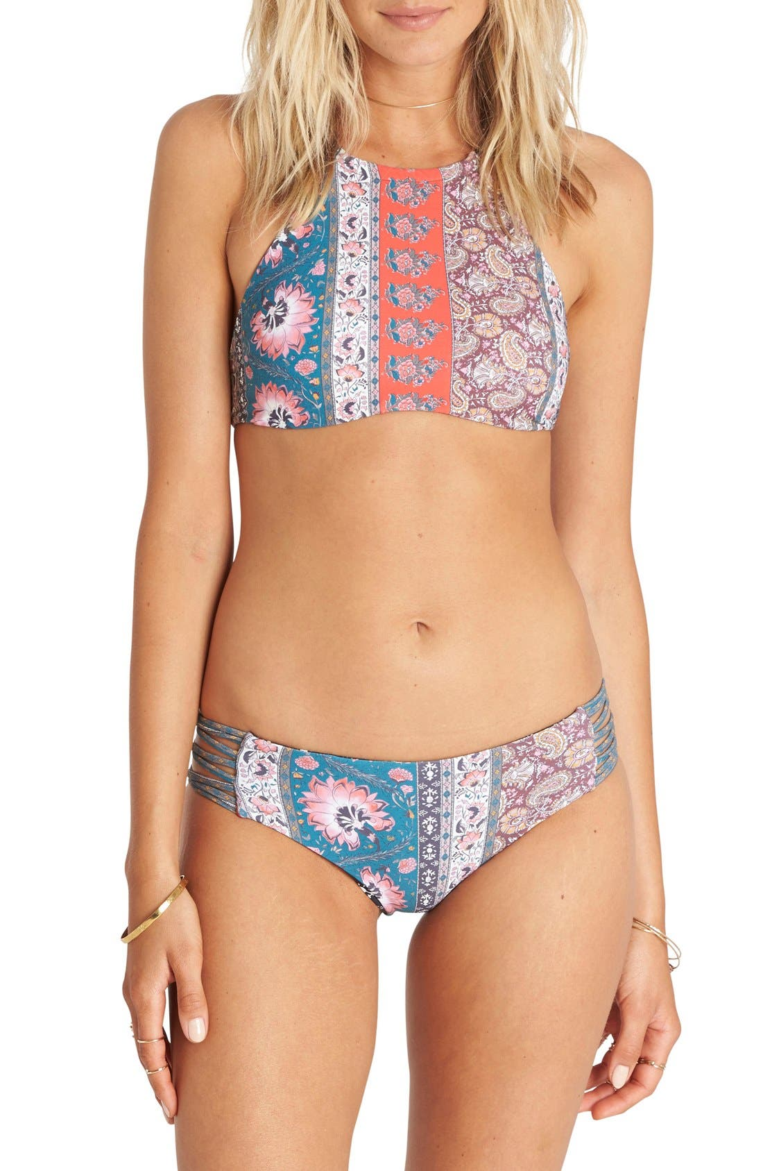 Alternate Image 1 Selected - Billabong 'Moon Dancer' Floral Print Halter Bikini Top