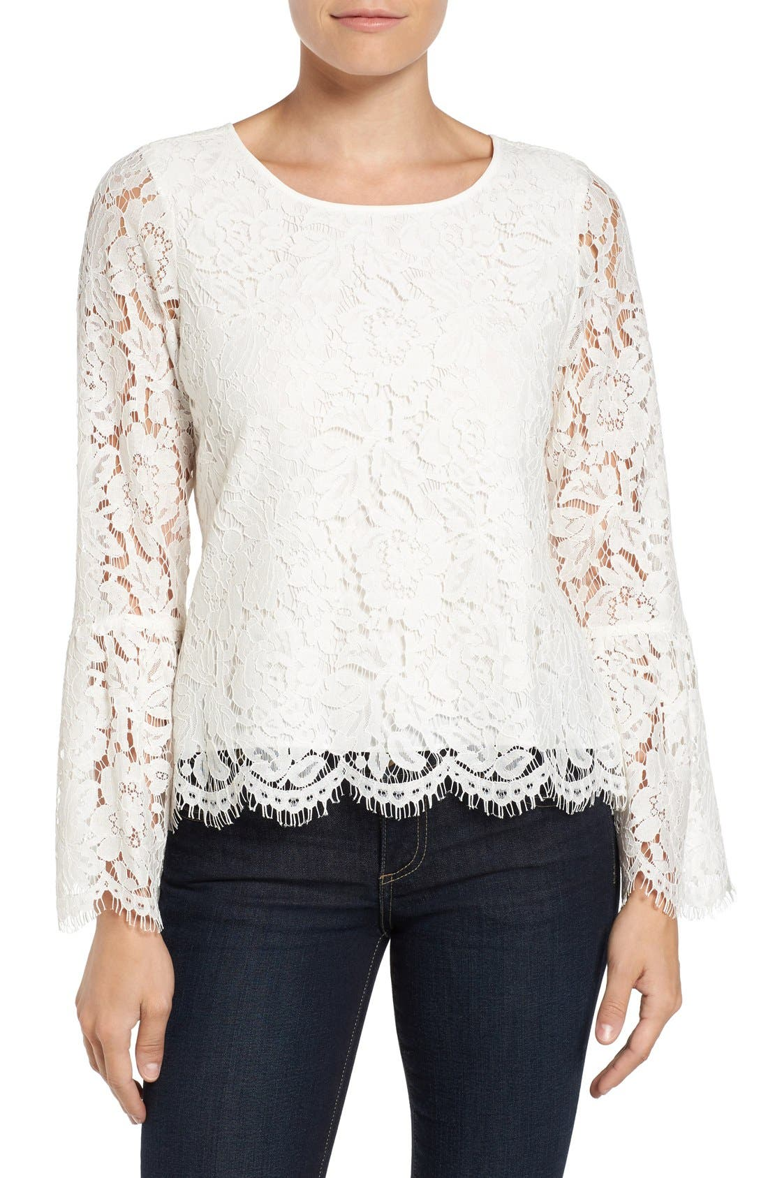Alternate Image 1 Selected - Vince Camuto Lace Bell Sleeve Blouse (Regular & Petite)
