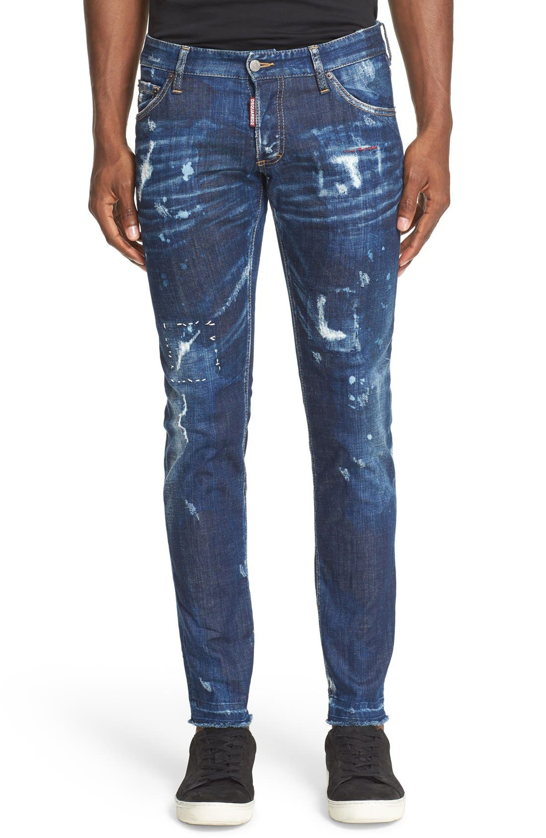 Main Image - Dsquared2 'Clement American Pie' Distressed Fray Hem Skinny Jeans