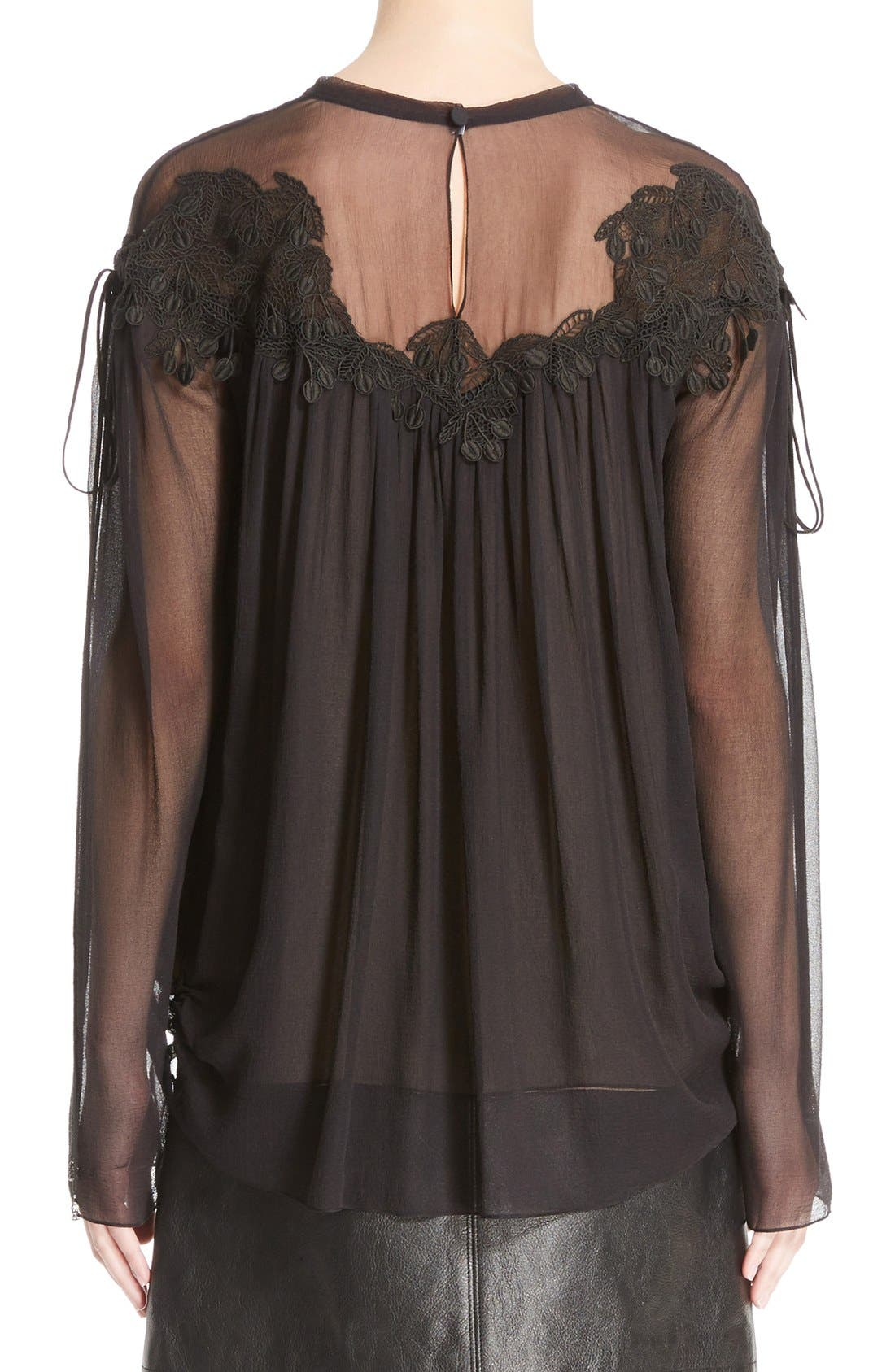 Alternate Image 2  - Chloé Cherry Lace Crushed Georgette Blouse