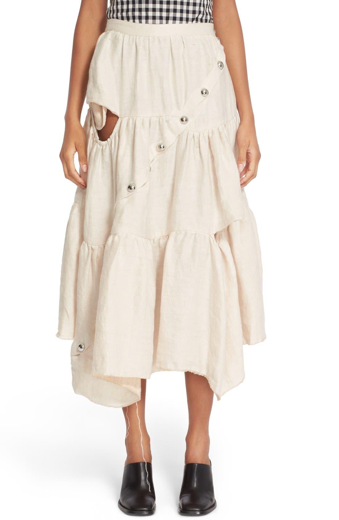 MARQUES'ALMEIDA Marques'Almeida Diagonal Snap Tiered Linen Skirt