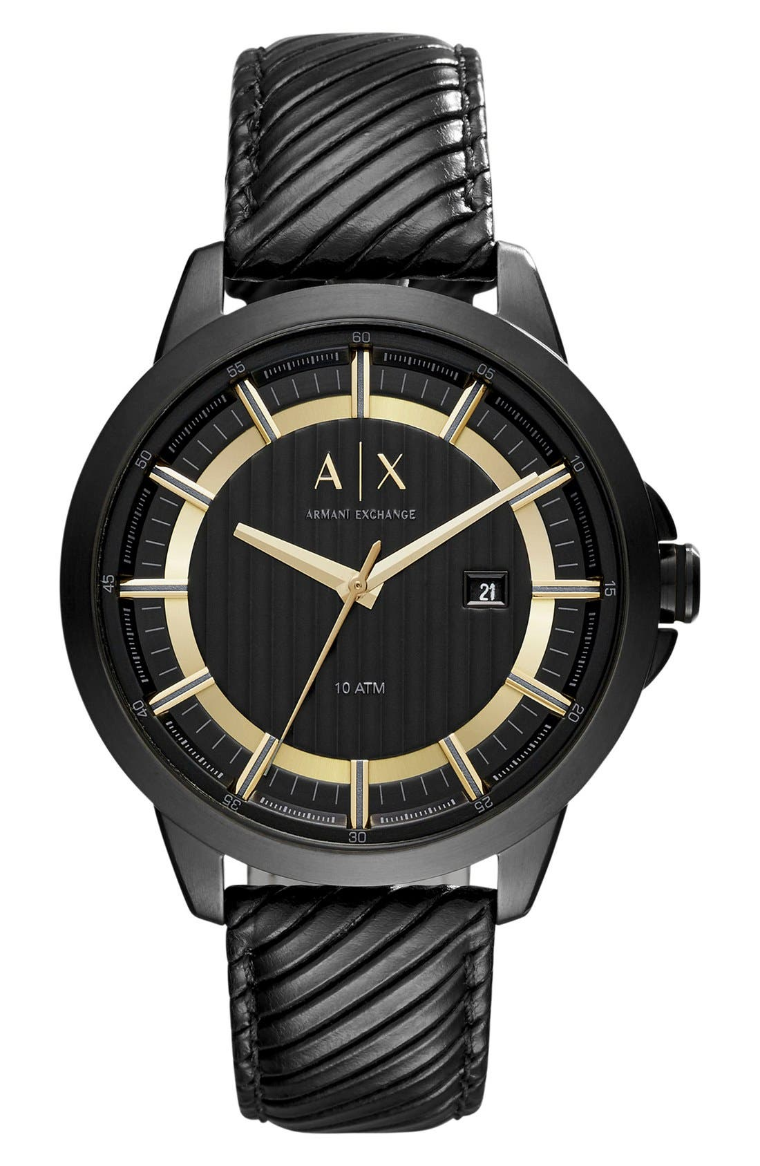 AX Armani Exchange Ribbed Leather Strap Watch, 44mm