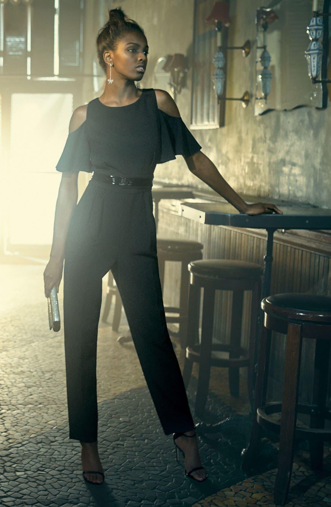 Alternate Image 2  - Eliza J Cold Shoulder Jumpsuit