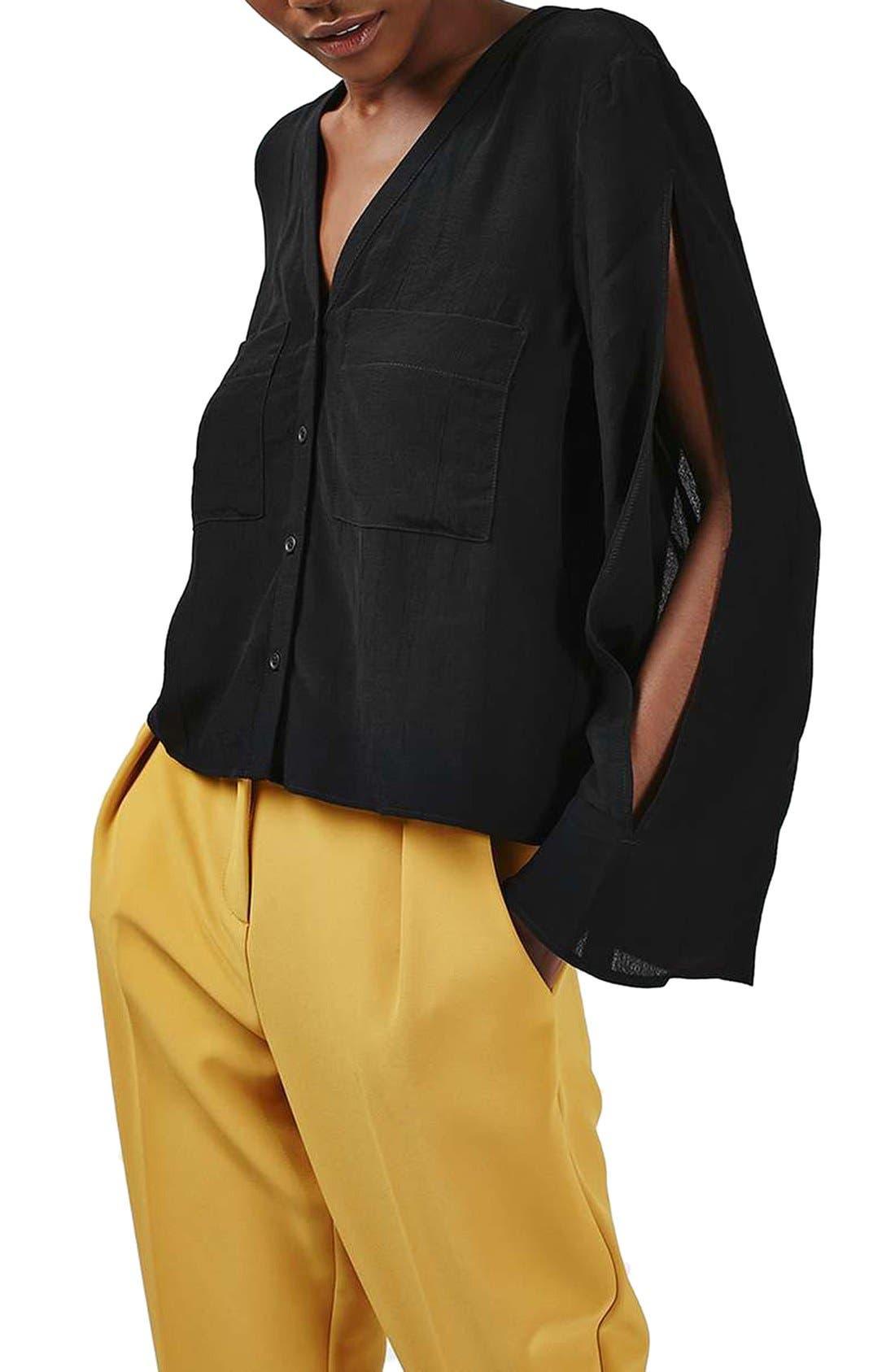 Alternate Image 1 Selected - Topshop Split Sleeve Shirt