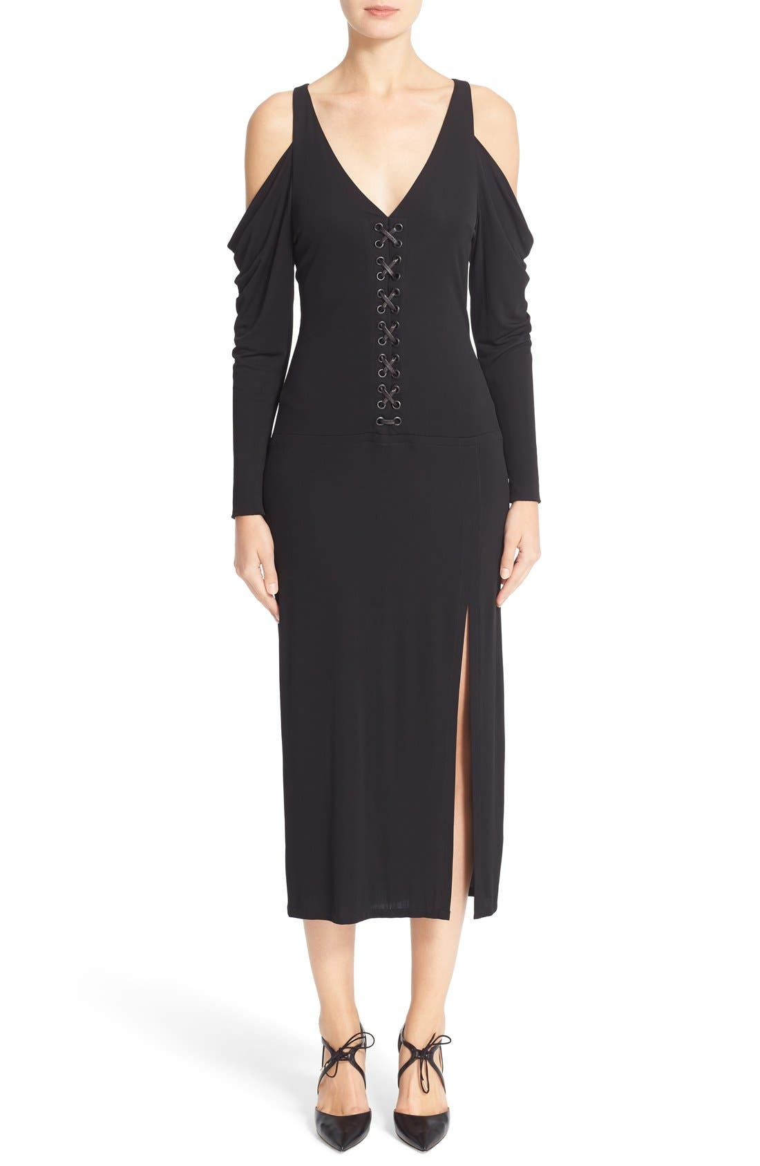 YIGAL AZROUËL Lace-Up Cold Shoulder Matte Jersey Dress