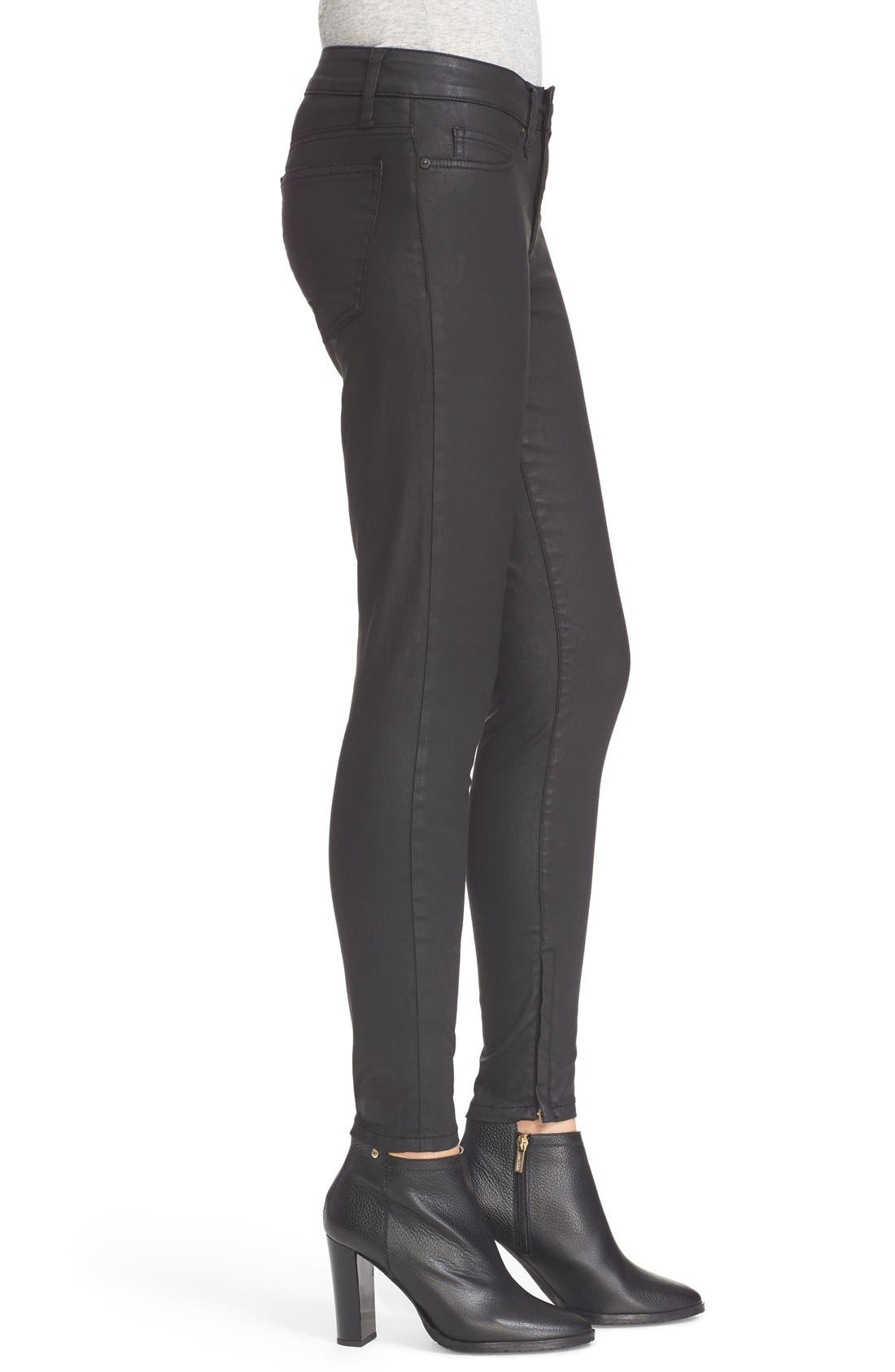 Alternate Image 4  - Joie Ankle Zip Super Skinny Jeans (Black Diamond)
