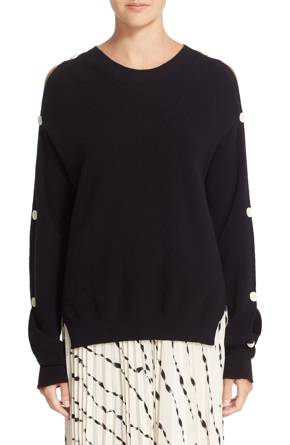 HELMUT LANG Button Sleeve Cotton & Cashmere Sweater