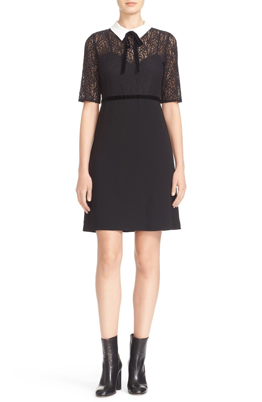 Alternate Image 1 Selected - The Kooples Lace Overlay Crepe Dress