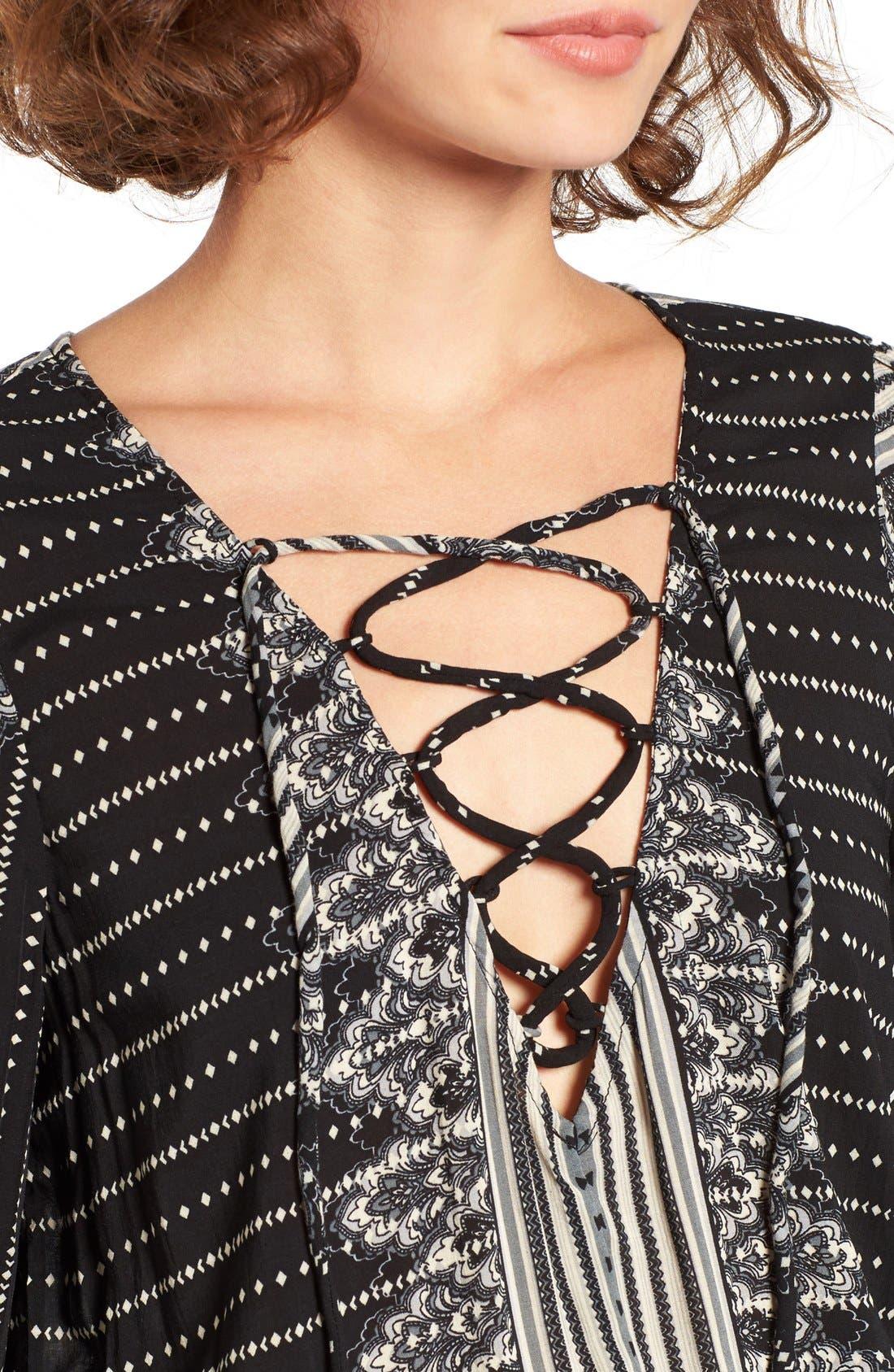 Alternate Image 4  - Rip Curl Winter Bird Print Lace-Up Dress
