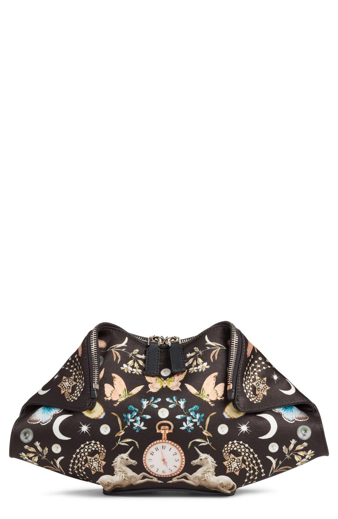 Alternate Image 1 Selected - Alexander McQueen Small De Manta Silk Clutch