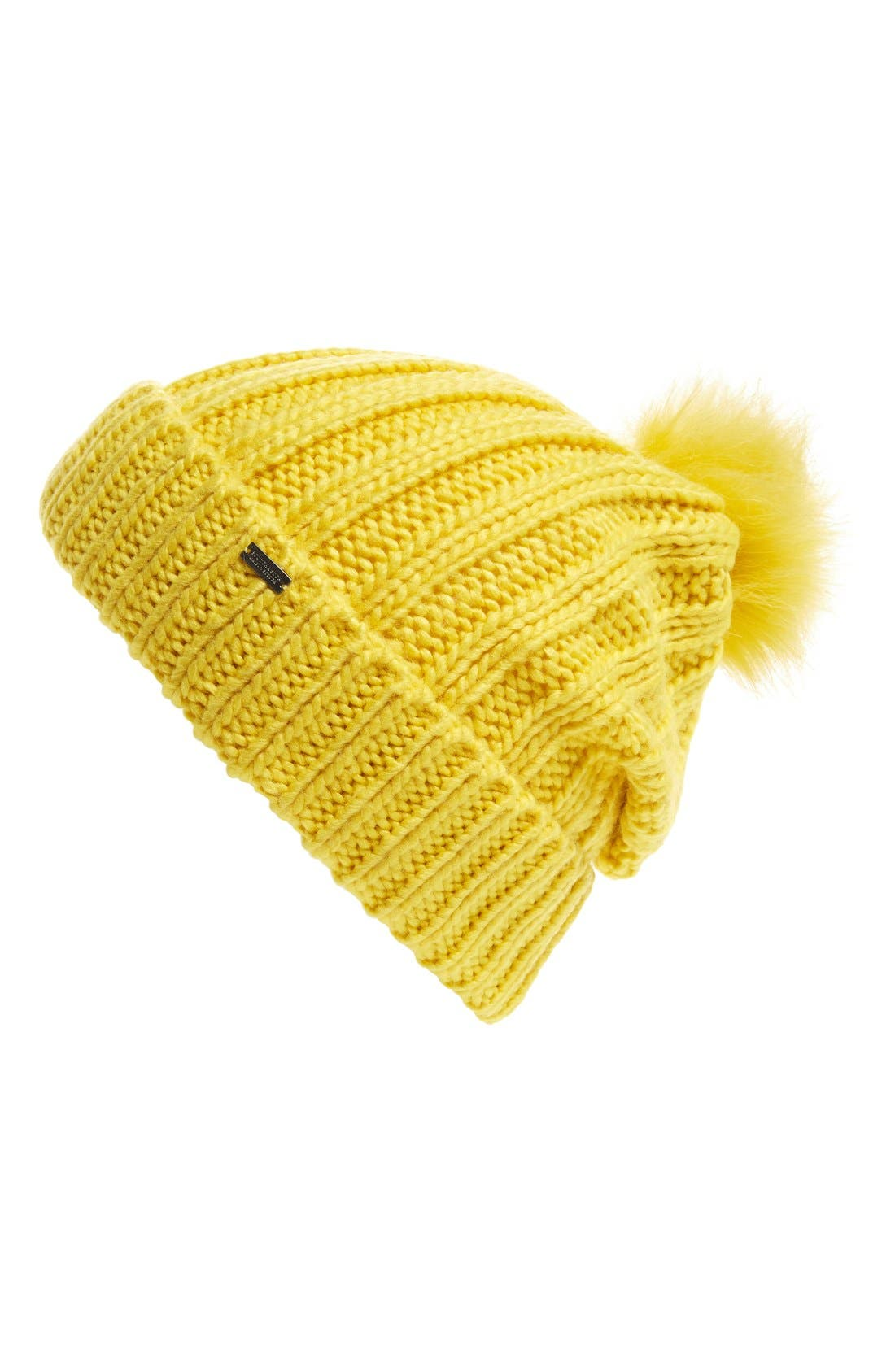 Main Image - Maison Scotch Faux Fur Pom Beanie