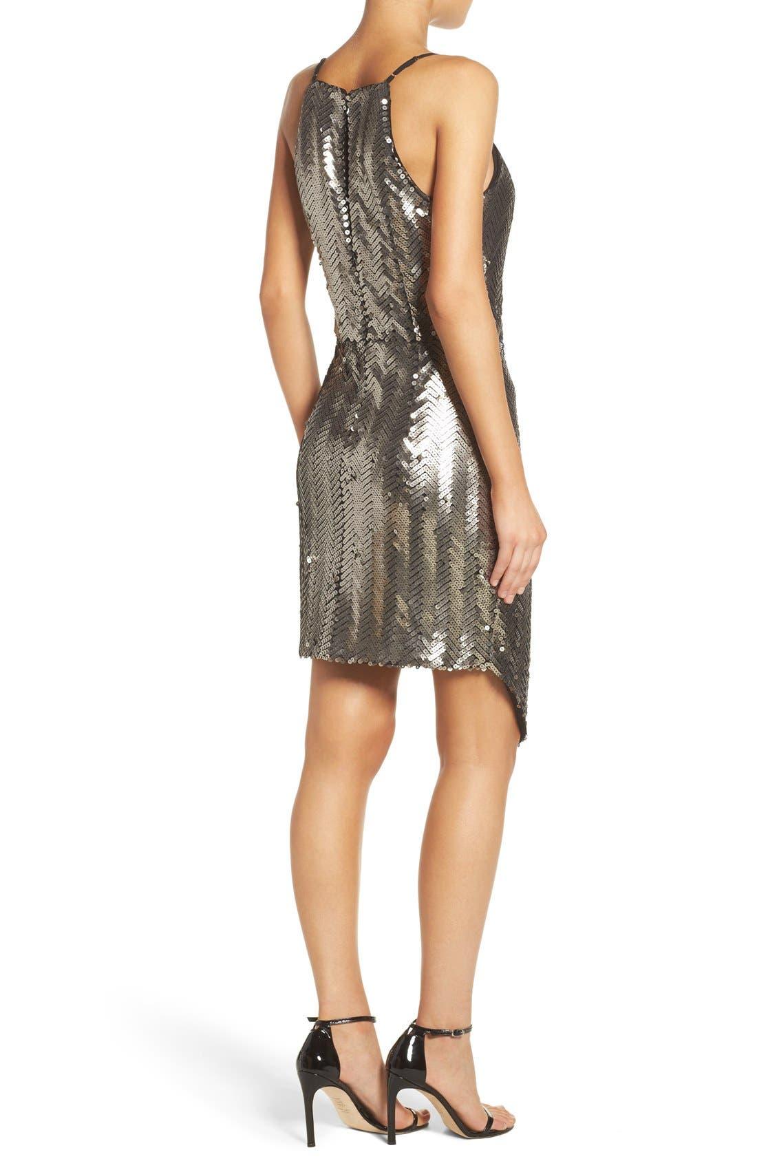 Alternate Image 2  - Adelyn Rae Asymmetrical Sequin Faux-Wrap Dress
