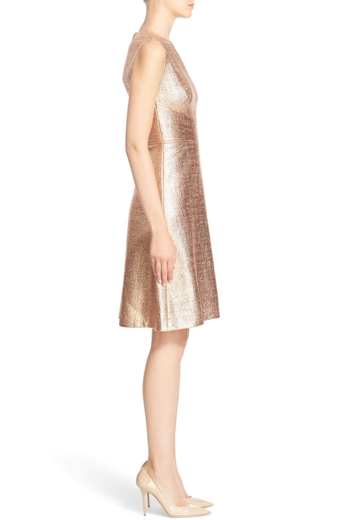 Alternate Image 5  - Lela Rose Coated Metallic Seamed A-Line Dress