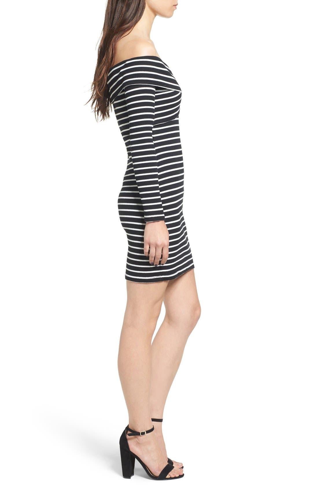 Alternate Image 3  - Cream and Sugar Stripe Off the Shoulder Body-Con Dress