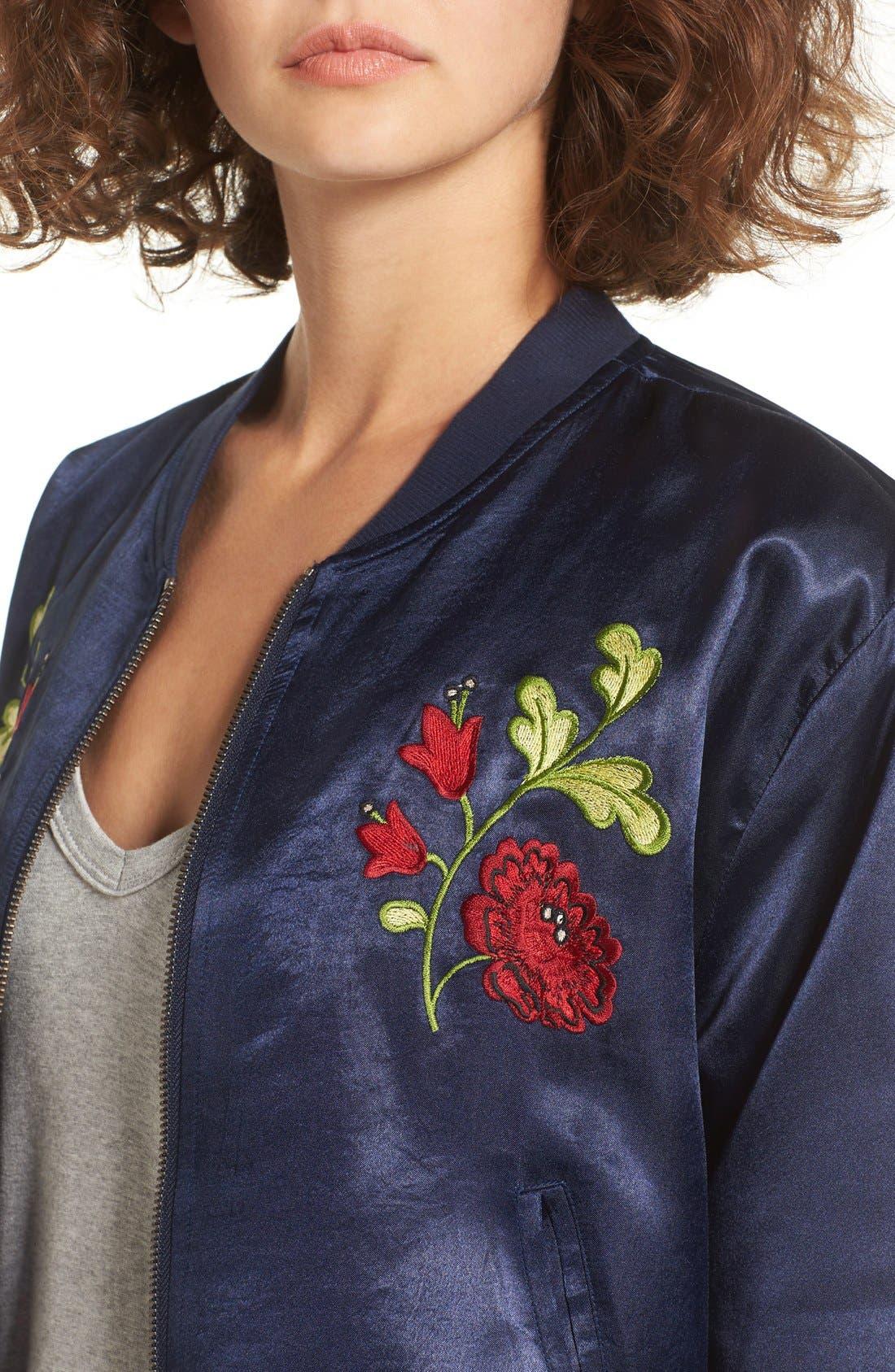 Alternate Image 4  - Tularosa Mara Embroidered Satin Bomber Jacket