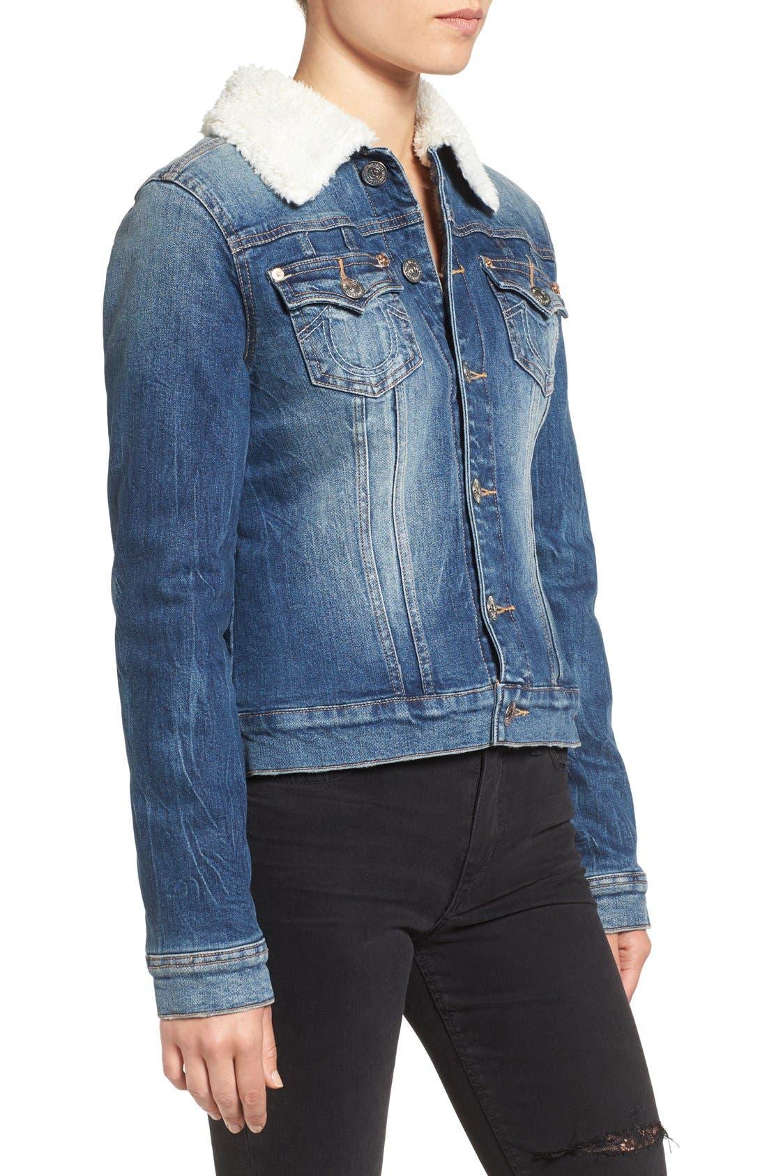 Alternate Image 3  - True Religion Brand Jeans Western Dusty Faux Shearling Collar Denim Jacket