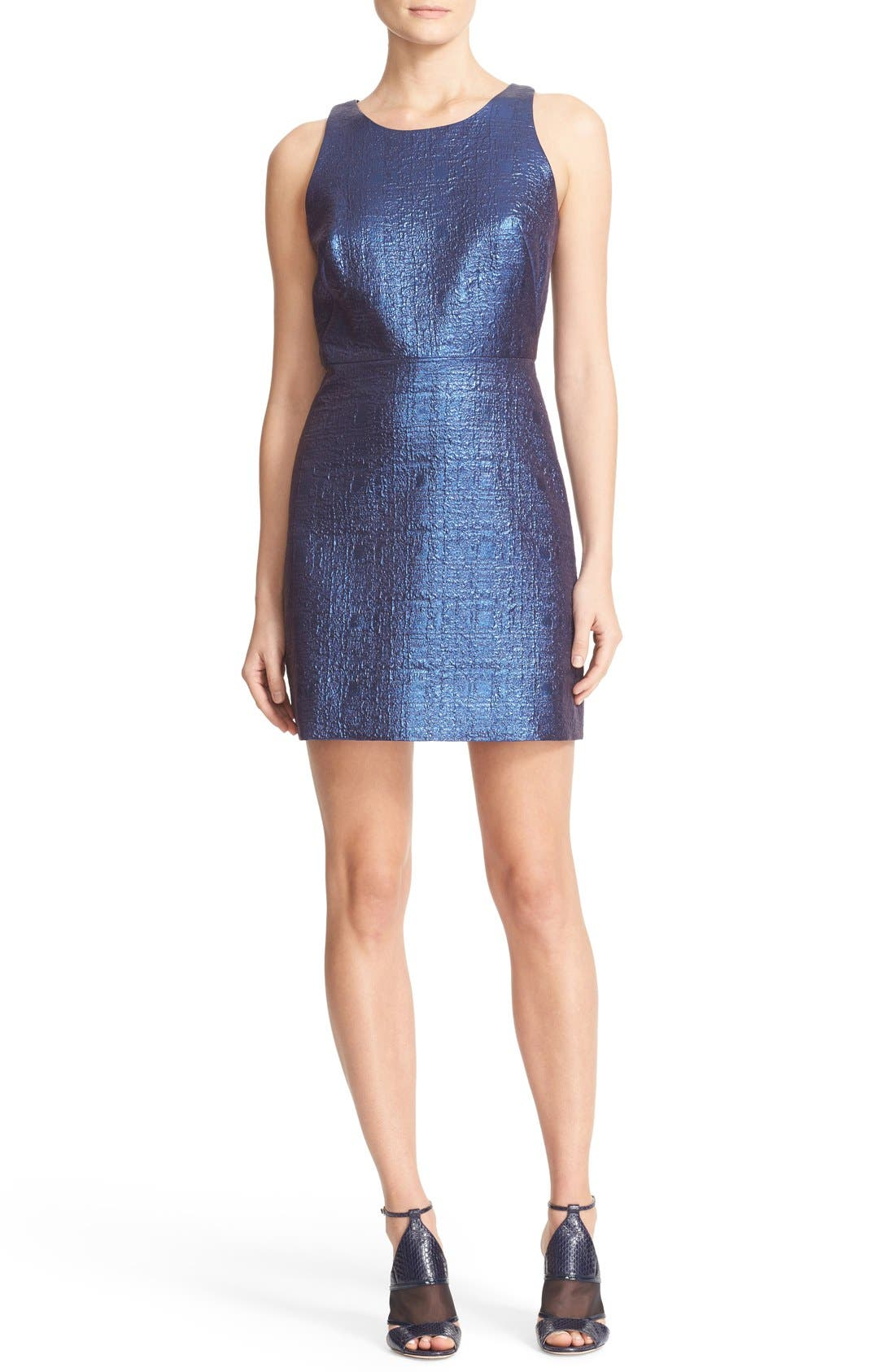 Main Image - Milly Metallic Jacquard A-Line Dress