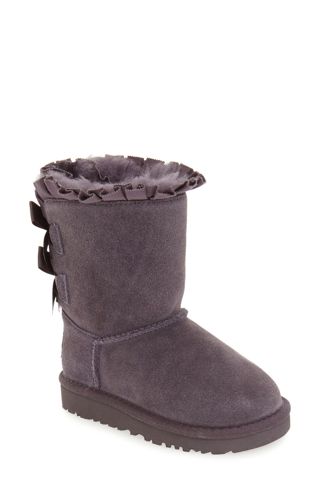 Main Image - UGG® 'Bailey Bow Ruffles' Genuine Shearling Lined Boot (Walker, Toddler & Little Kid)