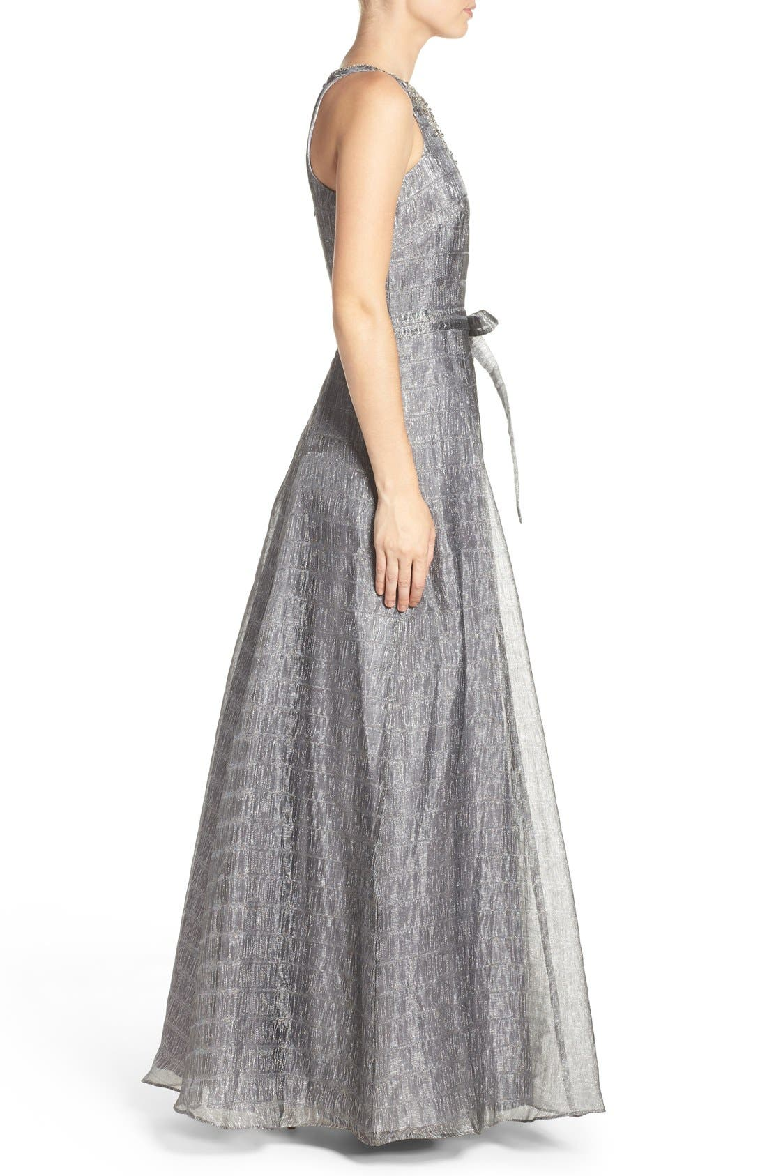 Alternate Image 3  - Aidan Mattox Beaded Metallic Organza Gown