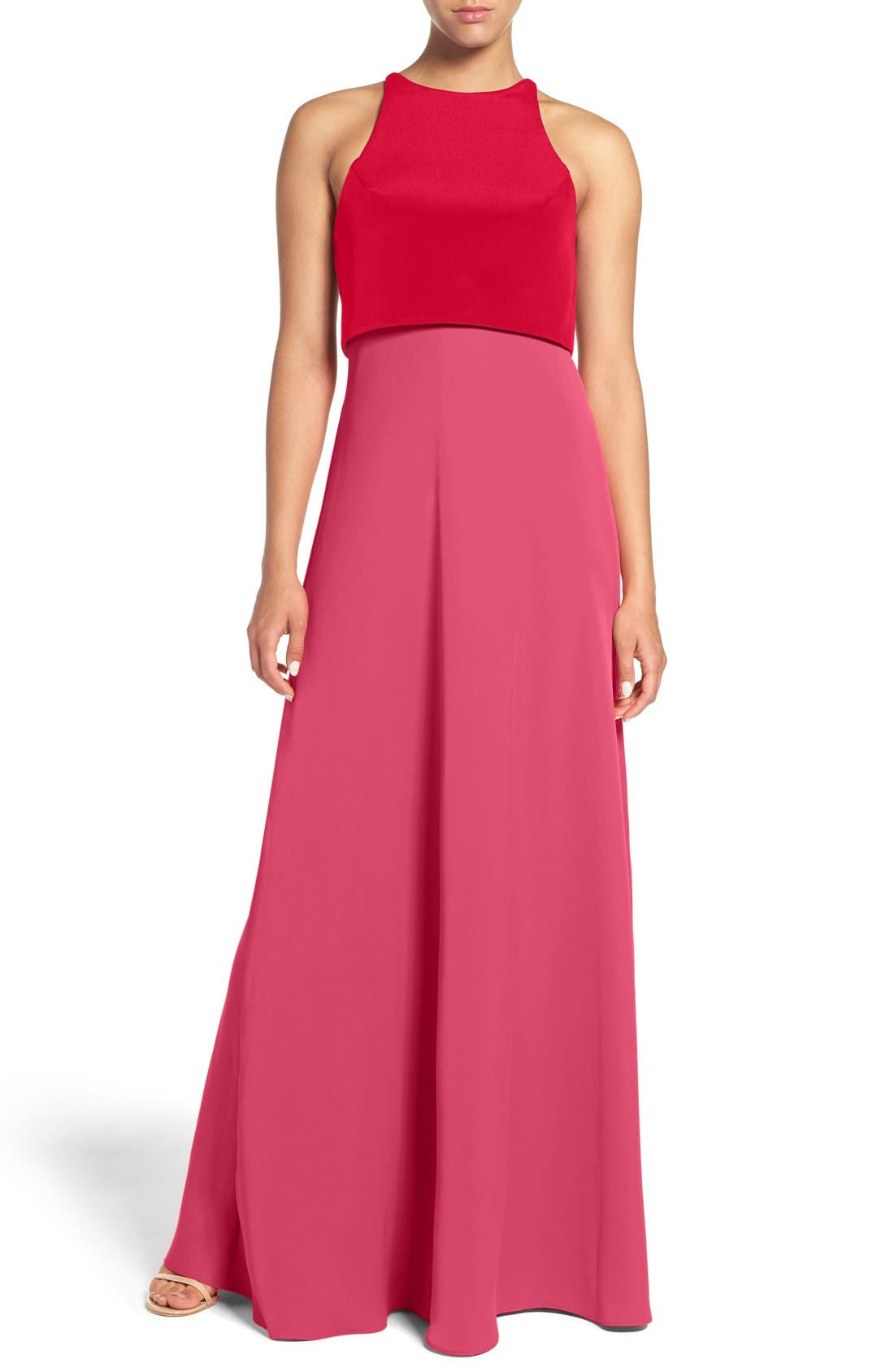 Main Image - Jill Jill Stuart Colorblock Popover Crepe Gown