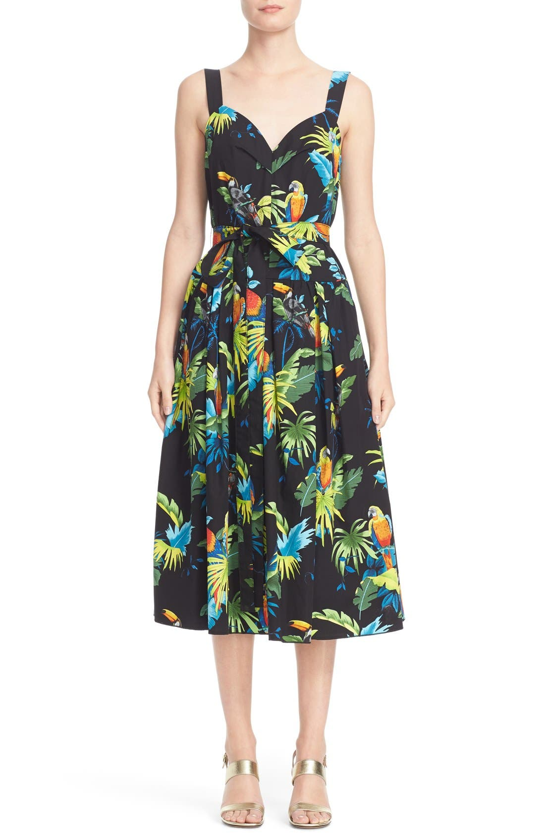 MARC JACOBS Parrot Print Cotton Poplin Dress